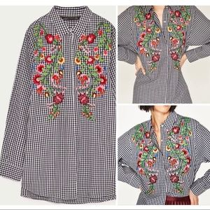 Zara Floral Embroidered Gingham Button Down Shirt